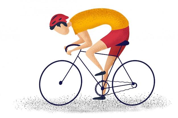 Equipe a bicicleta da equitação que dá um ciclo para a aptidão no fundo branco. personagem dos desenhos animados Vetor Premium