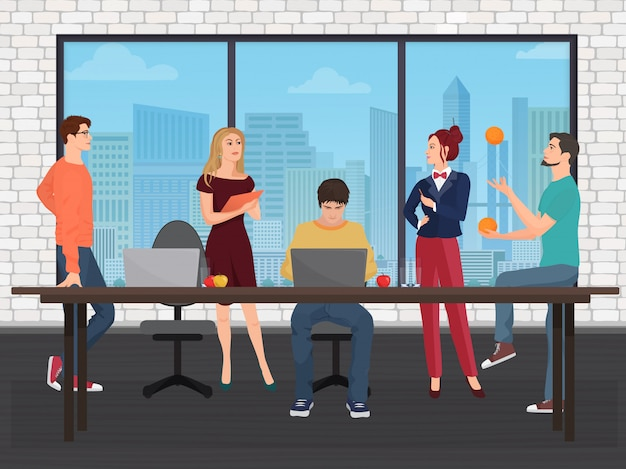 Equipe criativa no centro de coworking Vetor Premium