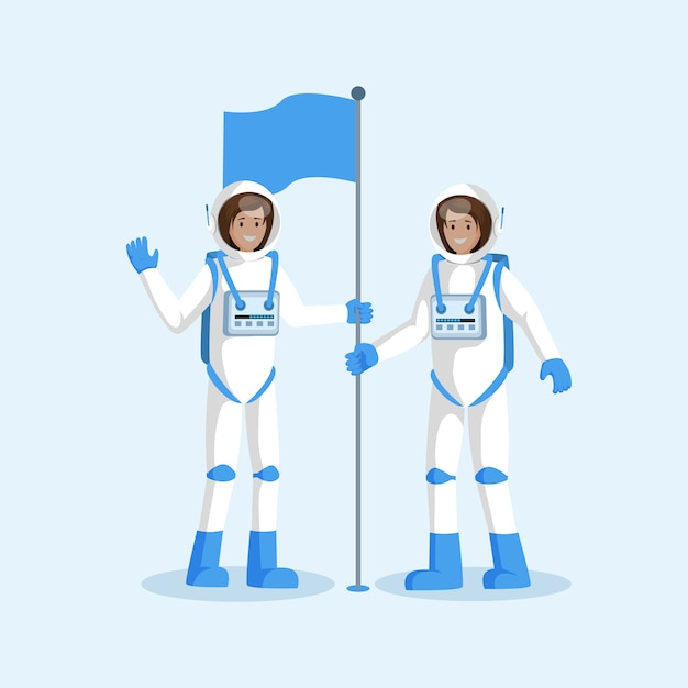 Equipe de astronautas colocando bandeira plana Vetor Premium