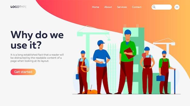 Equipe de construção trabalhando no modelo de página de destino do site Vetor grátis
