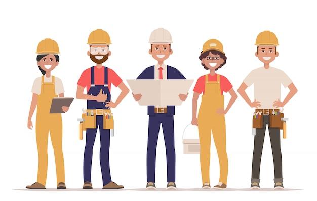Equipe de construtores Vetor Premium