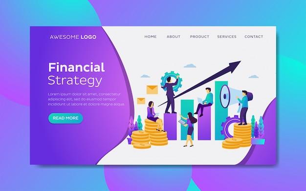 Equipe de desenvolvimento de crescimento financeiro modelo de página de destino Vetor Premium