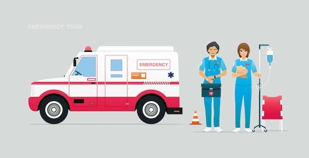 Equipe de emergência com veículos e equipamentos de primeiros socorros. Vetor Premium