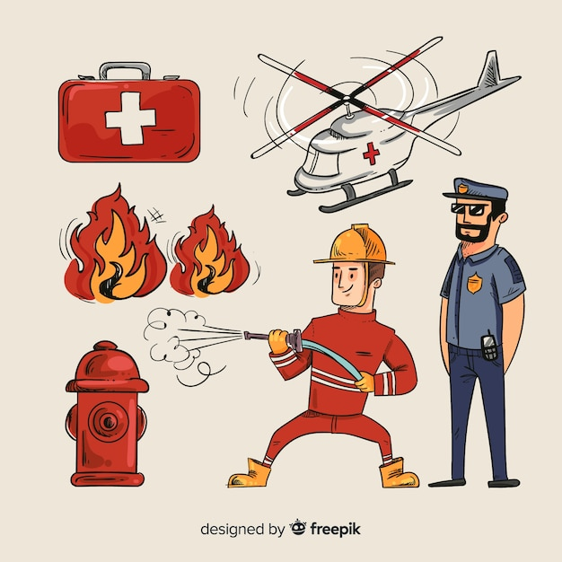 Equipe de emergência profissional de mão desenhada Vetor grátis