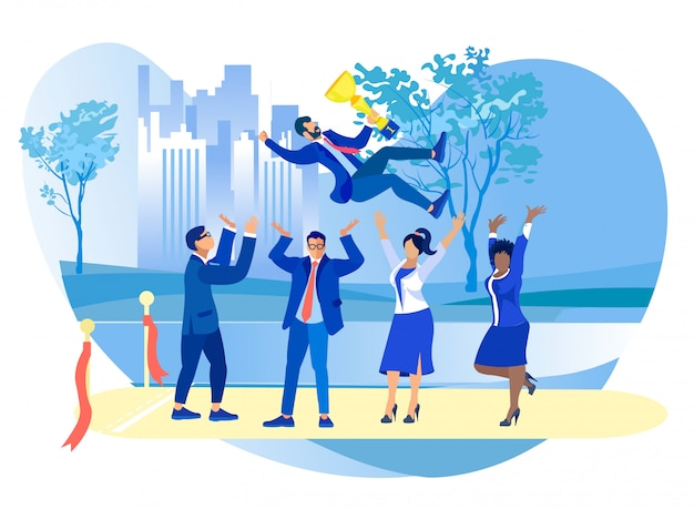 Equipe de empresários jogando no ar colega com copa Vetor Premium