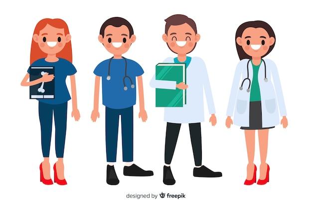 Equipe de enfermeira plana Vetor grátis