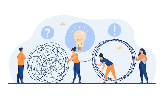 Equipe de gerentes de crise, resolvendo problemas do empresário. funcionários com emaranhado de desvendamento de lâmpada. ilustração vetorial para trabalho em equipe, solução, conceito de gestão Vetor grátis