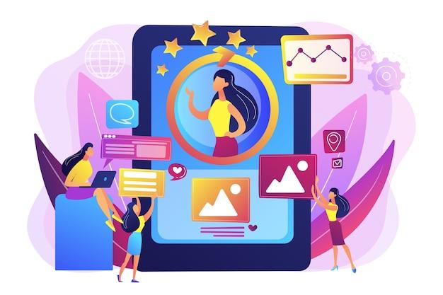 Equipe de gerentes de rp trabalhando, desenvolvimento pessoal. gerenciamento de identidade online, gerenciamento de identidade digital, conceito de presença de produto na web. Vetor grátis