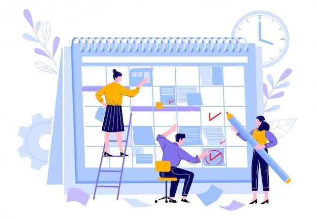 Equipe de gerentes organizar o calendário do projeto. trabalhadores gerente profissional, calendários de planejador de tempo de trabalho e ilustração de plano de organização de atividade de trabalho em equipe. lembrete de prazo e planejador de tarefas Vetor Premium