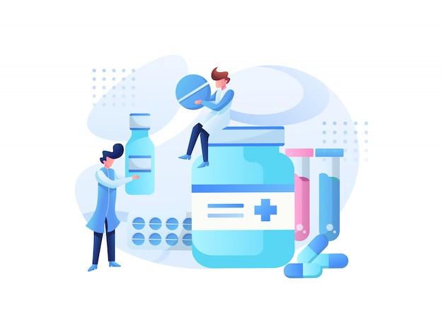 Equipe de ilustrações médicas e consulta de saúde Vetor Premium