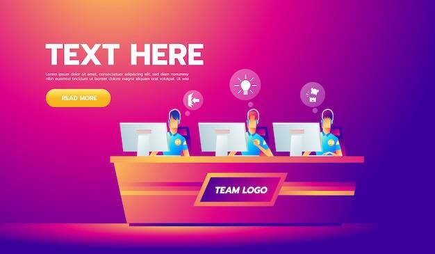 Equipe de jogadores profissionais com fones de ouvido na mesa no computador jogando videogame Vetor Premium