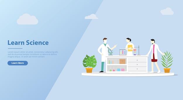 Equipe de laboratório aprender ciência para o modelo de banner do site Vetor Premium