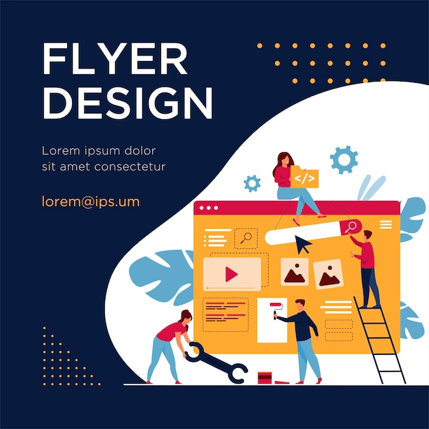 Equipe de marketing digital construindo landing page ou home page. pessoas minúsculas pintando unidades na página da web. modelo de folheto Vetor grátis