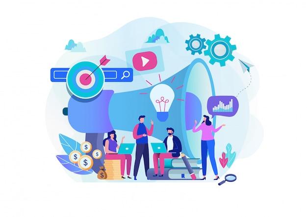 Equipe de marketing digital. Vetor Premium