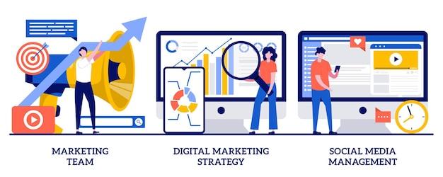 Equipe de marketing, estratégia de marketing digital, conceito de gerenciamento de mídia social com pessoas minúsculas. conjunto de ilustração abstrata de desenvolvimento de estratégia de campanha. smm, percepção da marca, canais online. Vetor Premium