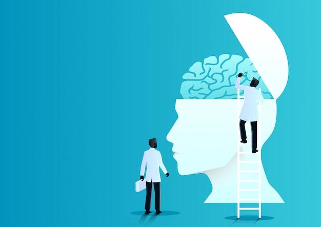 Equipe de médicos diagnosticar cérebro humano Vetor Premium