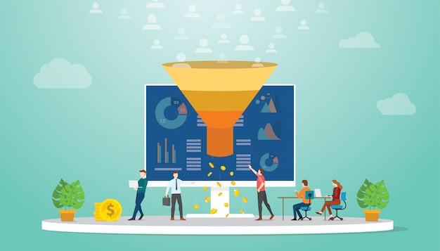 Equipe de monetização de seguidores ou usuários conceito de estratégia de marketing Vetor Premium