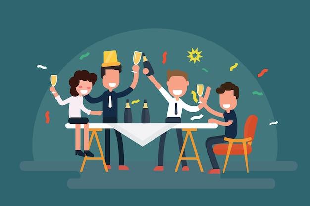 Equipe de negócios alegre comemorando a mesa com champanhe Vetor Premium