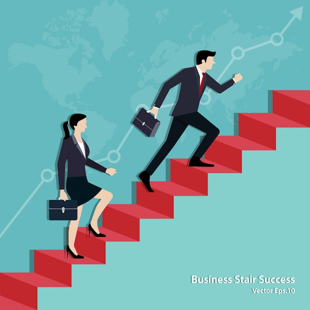 Equipe de negócios andando na escada até o gol Vetor Premium