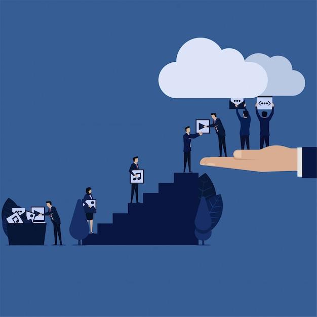 Equipe de negócios carregar conteúdo web de mídia para a nuvem. Vetor Premium