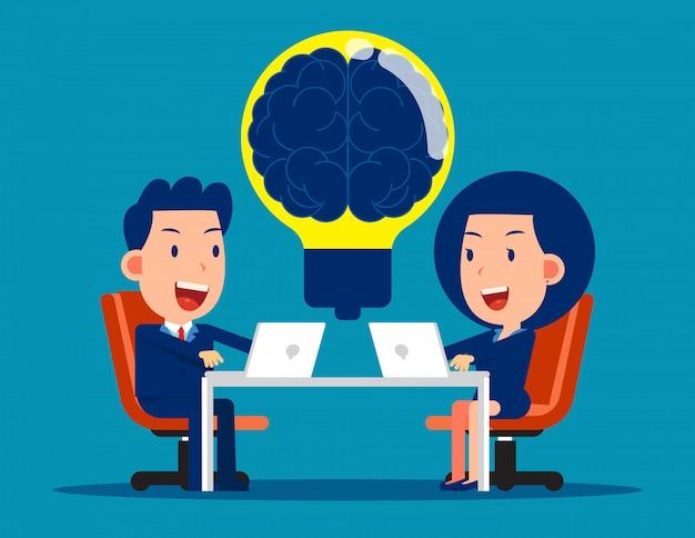 Equipe de negócios com brainstorming. conceito de reunião de negócios Vetor Premium