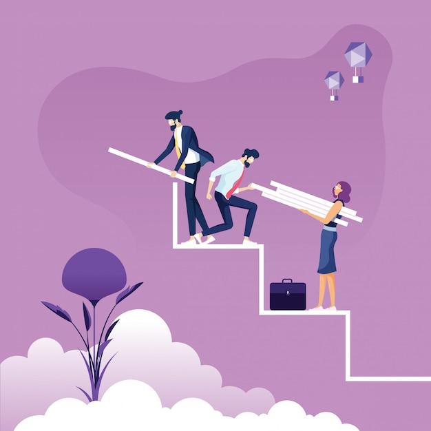 Equipe de negócios constrói uma escada para o sucesso - conceito de trabalho em equipe Vetor Premium
