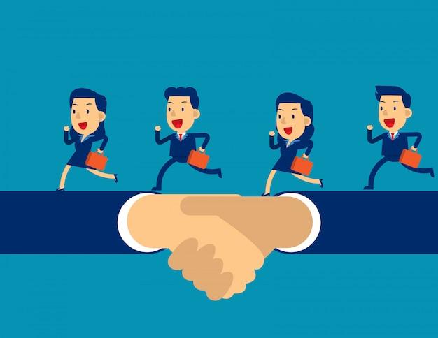 Equipe de negócios correndo por lado shake Vetor Premium