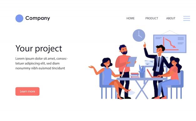 Equipe de negócios, discutindo o projeto. modelo de site ou página de destino Vetor grátis