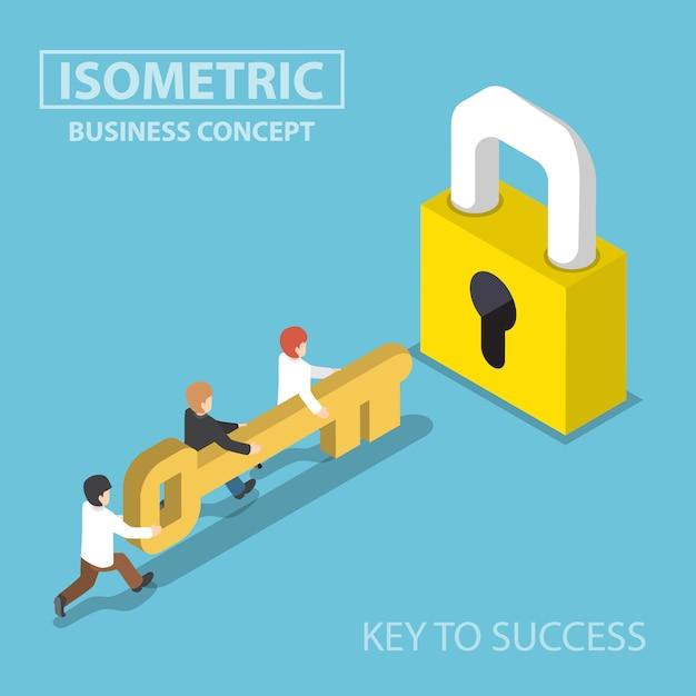 Equipe de negócios isométrica segurando a chave dourada para desbloquear a fechadura Vetor Premium