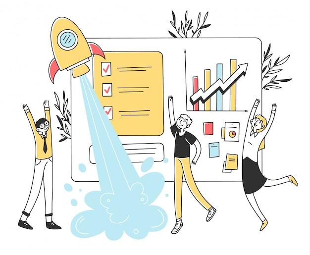 Equipe de negócios, lançamento de ilustração de inicialização Vetor Premium