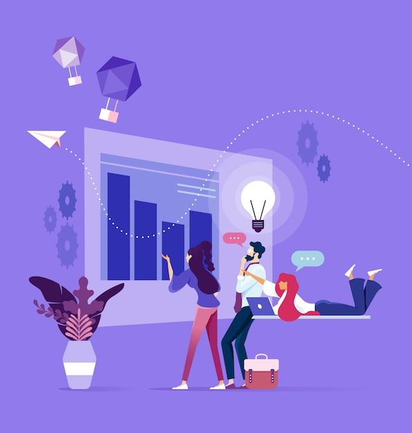 Equipe de negócios pensando na inicialização e brainstorming Vetor Premium