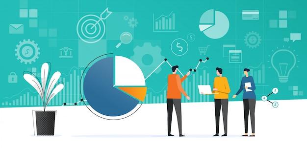 Equipe de negócios plana reunião trabalhando Vetor Premium