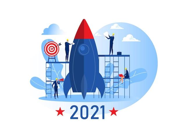 Equipe de negócios preparar lançamento de foguete iniciar objetivo de negócio 2021 anos ilustração em vetor conceito Vetor Premium