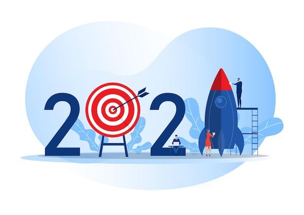 Equipe de negócios preparar lançamento de foguete iniciar objetivo de negócio 2021 anos ilustrador de vetor de conceito Vetor Premium