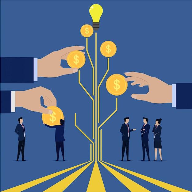 Equipe de negócios receba o pagamento de sua árvore de ideias Vetor Premium