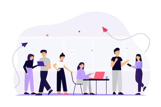 Equipe de negócios se comunicando através da mídia social Vetor grátis