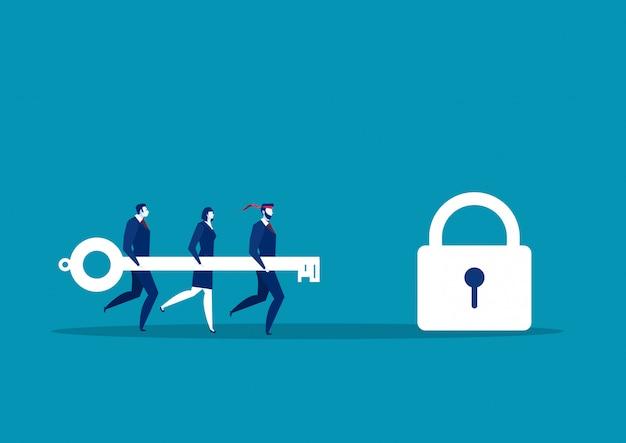Equipe de negócios segurando a chave grande para desbloquear a fechadura. ilustração em vetor conceito sucesso Vetor Premium