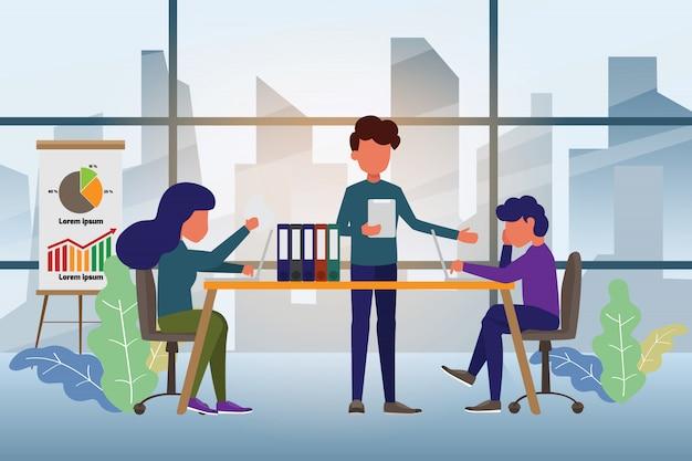 Equipe de negócios trabalhando juntos e discussão. Vetor Premium