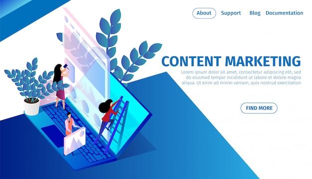 Equipe de pessoas trabalha em um enorme laptop, marketing de conteúdo Vetor Premium