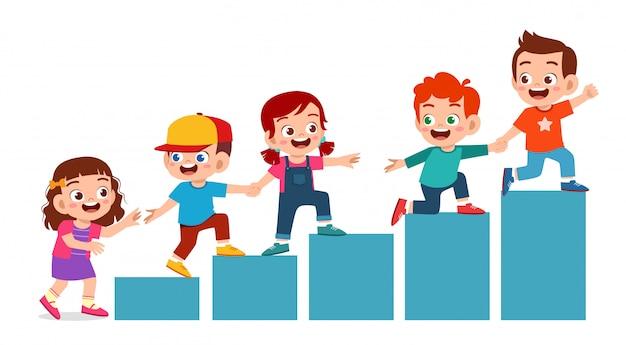Equipe de taemwork feliz filhos bonitos menino e menina Vetor Premium