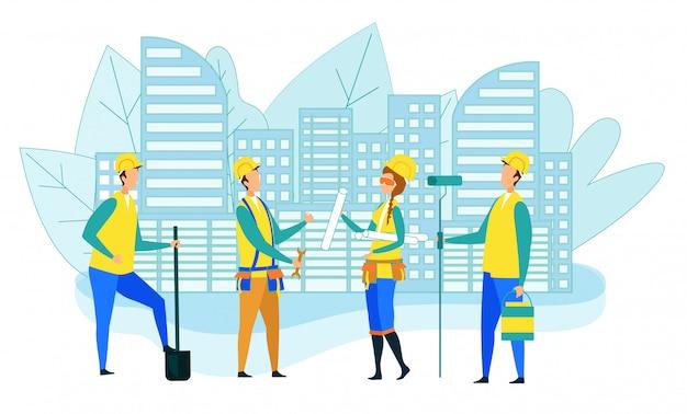 Equipe de trabalhadores da construção civil com instrumentos Vetor Premium