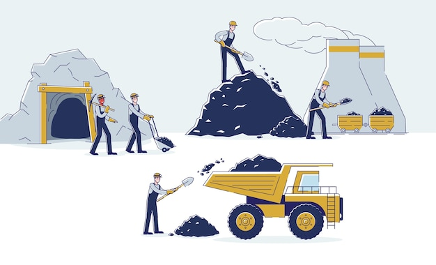 Equipe de trabalho está minerando carvão por meio de equipamentos Vetor Premium