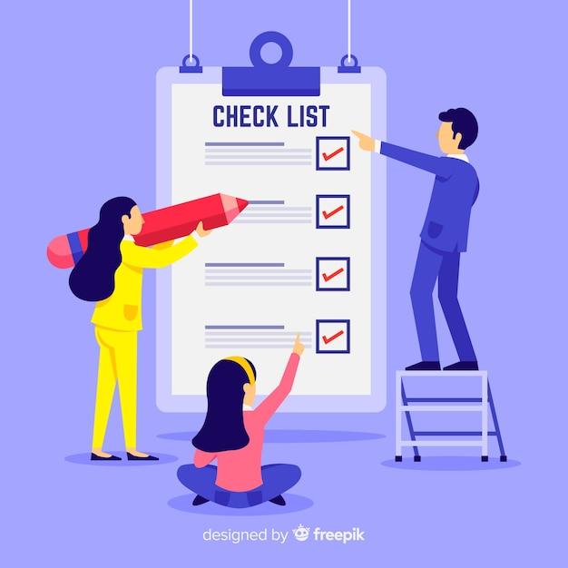 Equipe de trabalho verificando fundo de lista de verificação gigante Vetor grátis