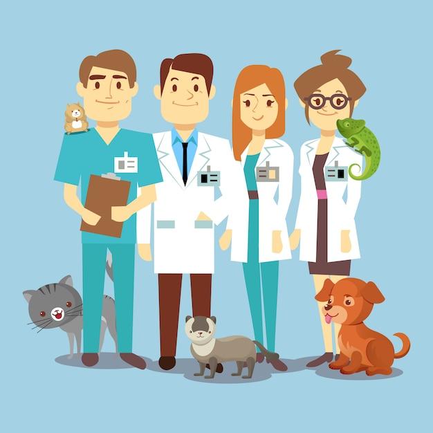Equipe de veterinários plana com animais fofos Vetor Premium