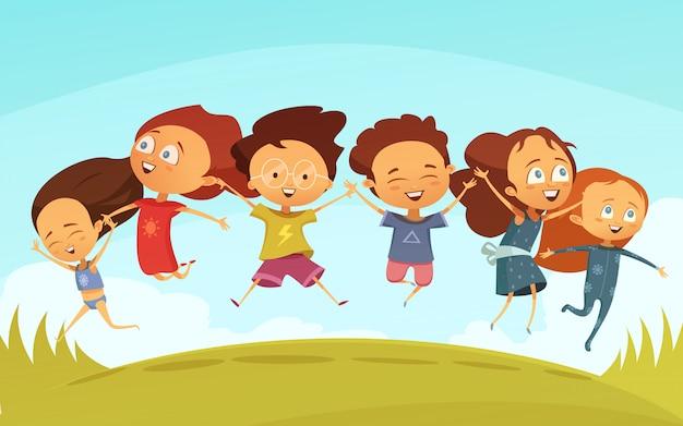 Equipe dos desenhos animados de amigos alegres de mãos dadas Vetor grátis