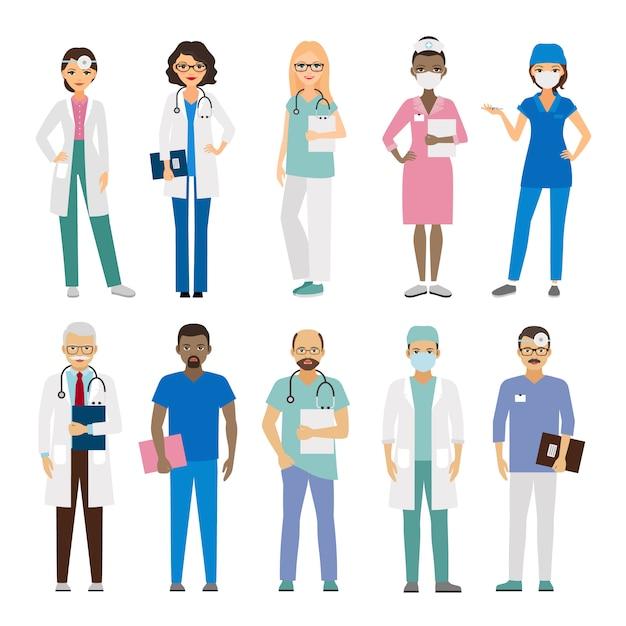 Equipe médica do hospital. Vetor Premium