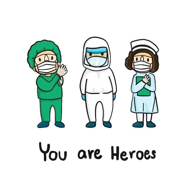 Equipe médica na mão, estilos de desenho. médico e enfermeiro em trajes de proteção e máscaras lutam pelo covid-19. personagem de doodle Vetor Premium