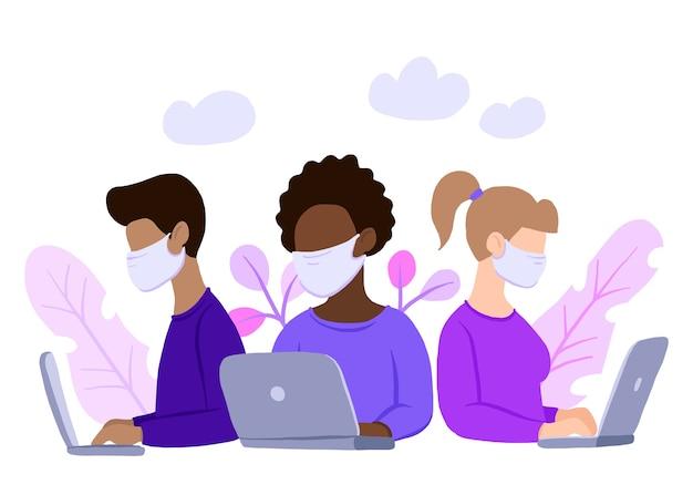 Equipe multinacional em máscara facial, assistente online no trabalho. Vetor Premium