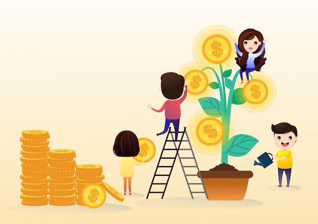 Equipe o investimento crescente com a folha da árvore com crescimento de dinheiro da moeda de ouro. Vetor Premium