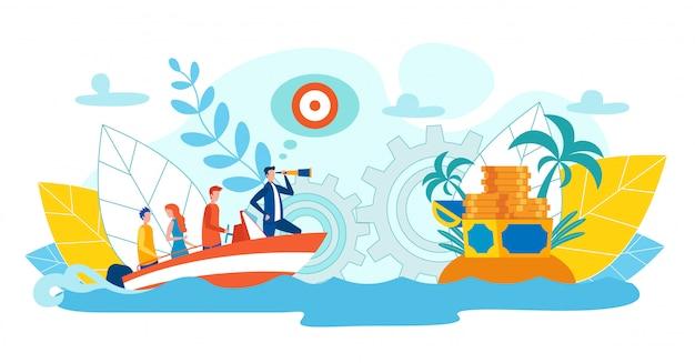 Equipe perfeita que consegue a ilustração lisa do sucesso. Vetor Premium